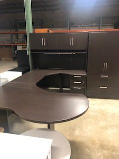 u-shaped desk with cabinets